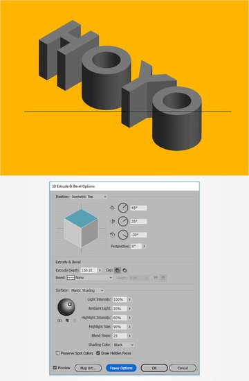 3D extrude bevel