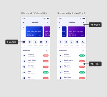 finance app design light mode