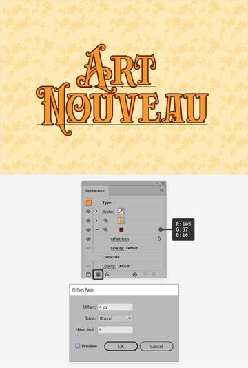 Art Nouveau text second fill