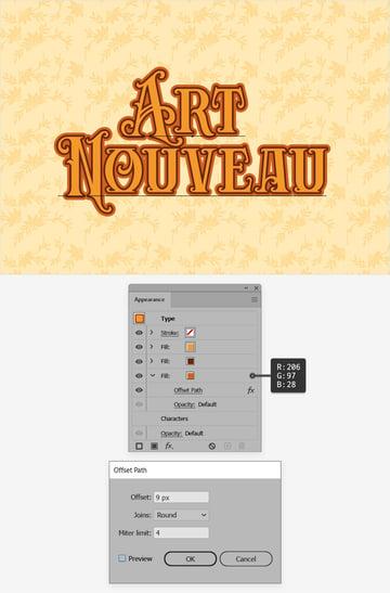 Art Nouveau text offset
