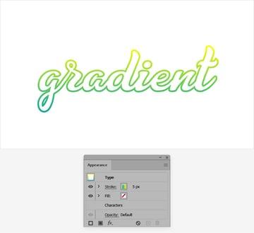 add gradient text illustrator outline