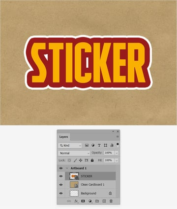 sticker text smart object