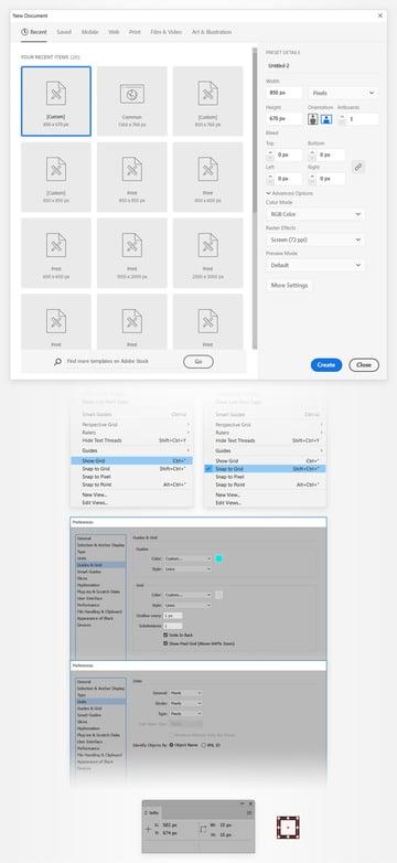 set up document grid