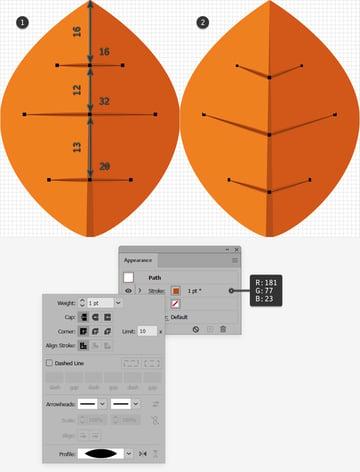 orange leaf design lines