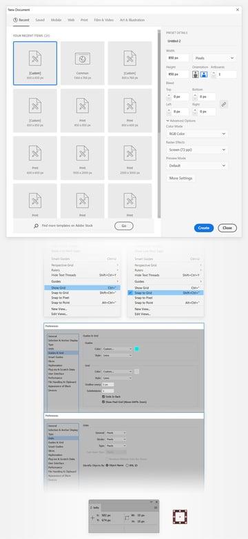 set up grid illustrator