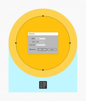 circle offset path