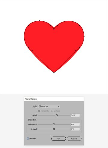 warp heart shape illustrator