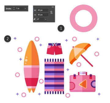 Adding of pink circles