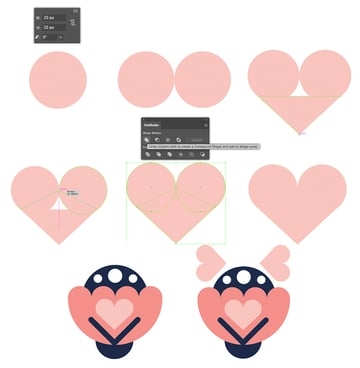 Creating of a heart shape