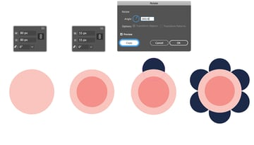 Using of the Rotation Tool to add petals