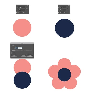 Make a seventh flowers base using the Rotate Tool