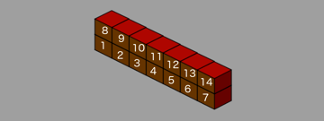 Isometric level with 2 floors and numbered z order