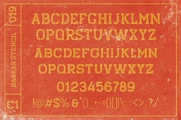 Baskar Distressed Stencil Fonts