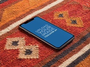 iPhone X Mockup Lying on a Red Carpet