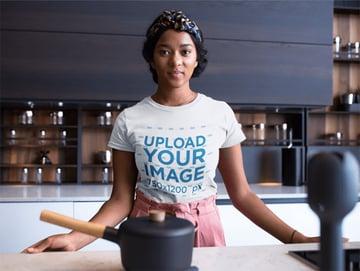 Woman Wearing a Round Neck T-shirt Mockup