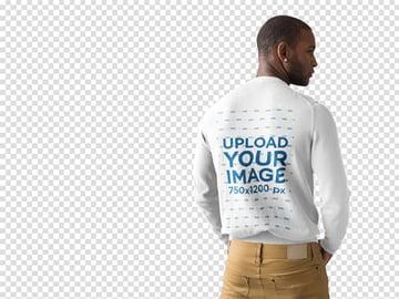 Back Shot of Man Wearing a Crewneck Sweater Mockup at a Photo Studio