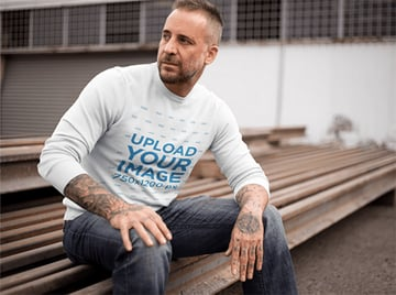 Clothing Mockup of a Middle-Aged Man Wearing a Crewneck
