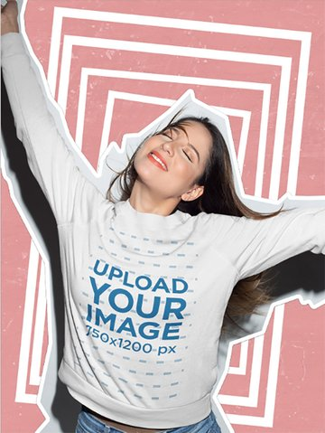 Framed Mockup of Woman Wearing a Sweatshirt