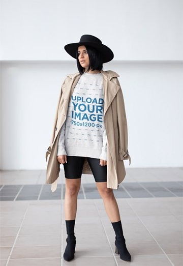 Sweatshirt Mockup of a Girl Wearing a Fashionable Hat