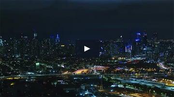 Night Drone City Shot