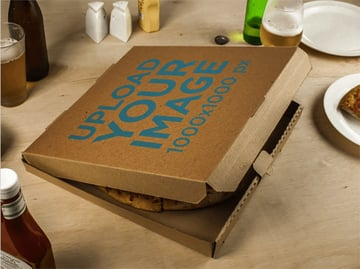 Pizza Box Template Lying on a Table Just Before Dinner Time