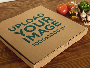 Pizza Box Template Near Ingredients on a Wooden Surface