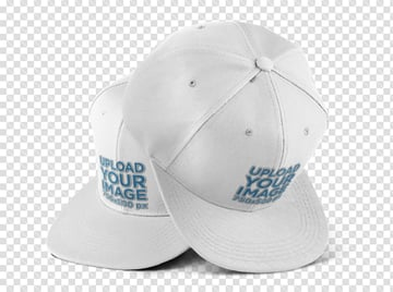 Two Snapback Hats Mockup Over a PNG Background
