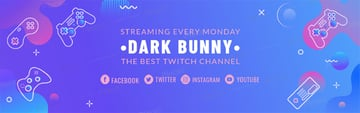 Twitch Banner Template with Gaming Icons