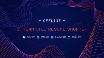 Twitch Offline Banner Creator with Curved Lines Vector