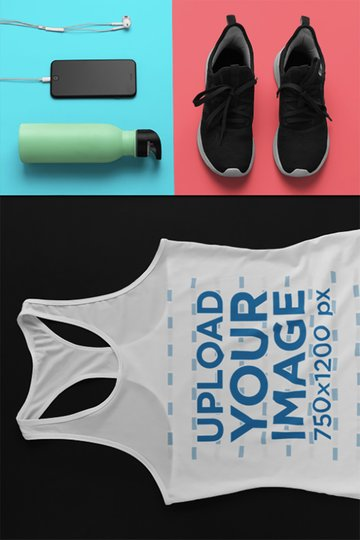 Mockup of a Sporty Racerback Tank Top Outfit