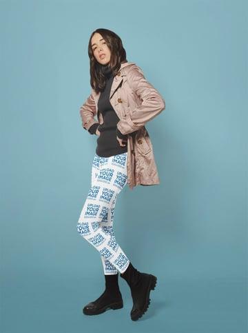 Leggings Mockup Featuring a Beautiful Woman Posing at a Photo Studio