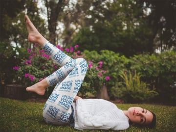 Womens Leggings Mockup Featuring a Woman on the Grass