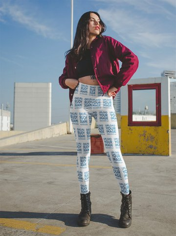 Womens Leggings Mockup of a Woman with a Bomber Jacket on a Rooftop Parking Lot