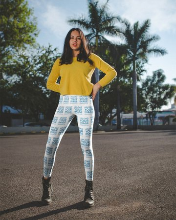 Womens Leggings Mockup of a Girl Wearing a Yellow Sweater on the Street