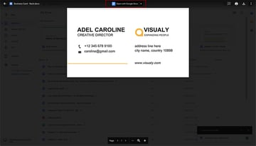 Open your business card template in Google Docs