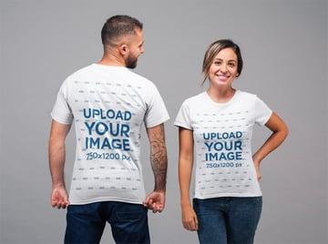 Back and Front View Tee Mockup of a Man Staring at Woman Facing the Camera