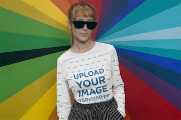 Long Sleeve Mockup Featuring a Woman with Dark Sunglasses Against a Colorful Wall