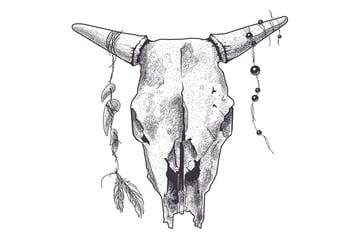 Dotwork Animal Skull with Modern Street Style
