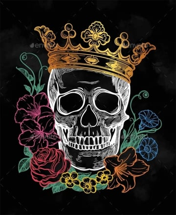 Romantic Skull with Crown