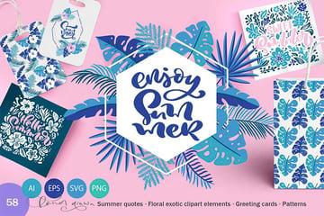 Summer Exotic Palm Design Elements SVG