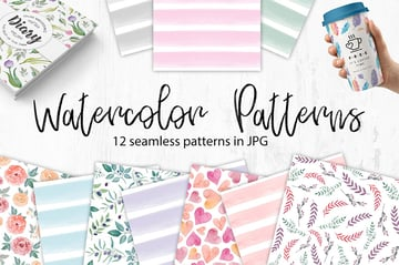 Watercolor Seamless Patterns Flowers and Stripes