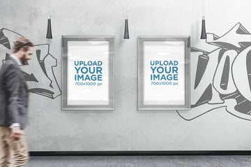 Mockup of Two Posters Placed in an Urban Scenario