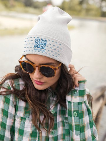 Beanie Mockup of a Cool Young Woman Wearing Sunglasses