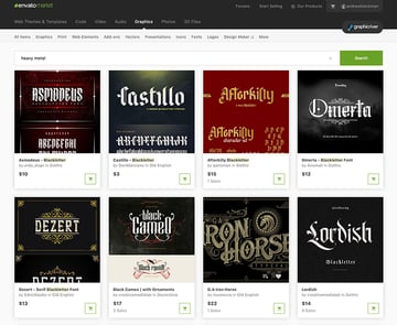Best Source for Heavy Metal Fonts Buy One at a Time