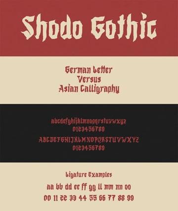 Shodo Gothic Font Metal