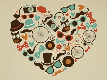 Hipster Style Heart Vector Image