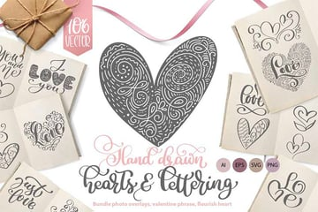 Valentines Hand Drawn Heart Vector Collection