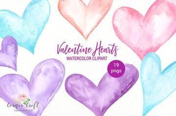 Watercolor Valentine Heart Graphics