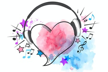 Red Heart Vector With Musical Background