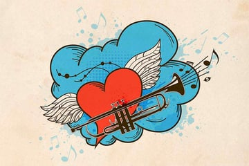 Musical Retro Background With Red Heart Vector